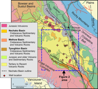 Regional geology, showing major Cretaceous units of the Nechako, Methow and Tyaughton basins (modified from a BC Ministry of Energy, Mines and Petroleum Resources, 2002; used with permission). Figure published in Summary of Activities 2007, Geoscience BC Report 2008-1.