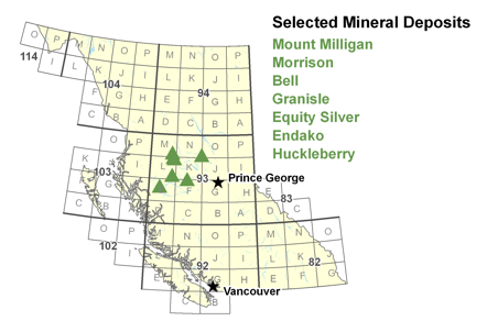 Selected Mineral Deposits in Project Study